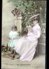FEMME à la lecture & ENFANT au JEU de JARDINAGE début 1900