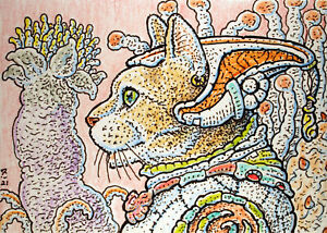 ACEO  Fantasy Original The Cat From Planet Zoll
