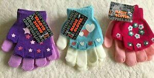 Girls Magic Gripper Gloves Knitted Fingerless Over Gloves - Stars Hearts Flowers