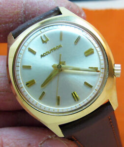 SERVICED ACCUTRON 2180 BULOVA 14KT. GOLD FILLED TUNING FORK MEN'S WATCH N2