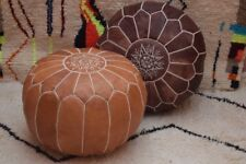 MOROCCAN POUF Leather Ottoman *Chronopost free shipping** Big Promo of 2 Pouffe