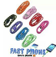 Cable nylon  micro USB 3 METROS. Varios colores. Samsung, Nokia, LG, Sony.