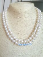 Double-strands AAA+ 8-9MM REAL NATURAL WHITE BAROQUE PEARL NECKLACE 14K 18' 19'
