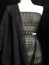 100% Polyester Geometric Lace   Sold By The Yard   Black