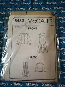 McCall's Sewing Pattern #8482 Girls' Pinafore & Blouset size 10-12-14 UNCUT