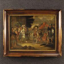 Dipinto antico religioso olio tavola quadro fiammingo Trionfo Davide 700 XVIII