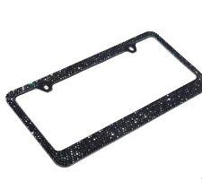 Premium Bling 7 Rows Black Diamond Crystal METAL License Plate Frame/Free Cap
