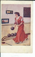 AX-219 Woman Bowler, Artist E. Early Christy, 1907-1915 Golden Age Postcard