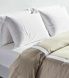"NEW FRETTE AT HOME ""ARNO"" KING DUVET COVER 100% Cotton~Stone / White"