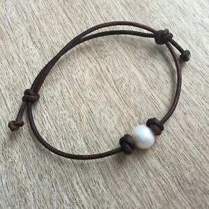 LaBelle Freshwater Pearl Leather Anklet