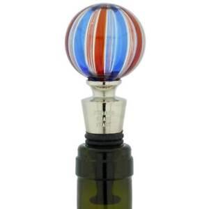 GlassOfVenice Murano Glass Bottle Stopper - Blue Swirls