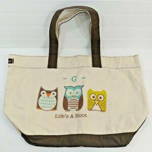 "THIRTY ONE 31 Natural & Brown Canvas Hoot OWLS ""G""  XL Shopper UTILITY TOTE BAG"