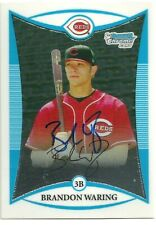 2008 Bowman Chrome BRANDON WARING Signed Card AUTOGRAPH REDS WOFFORD