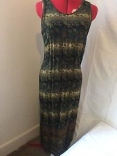 Caribou NEW YORK Printed Dress M 2 Slit Midi Day Dress
