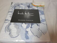 New Nicole Miller Home Blue Embroidery Floral Shower Curtain 72x72 Flower NIP
