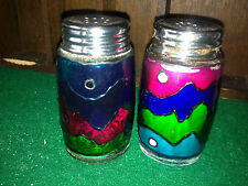 Rare Vintage Salt and Pepper Shakers glass rainbow colours