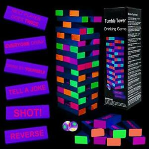 Black Light Tumble Tower -Glowing Blocks Tumble Tower Suitable for Day Or Nig...