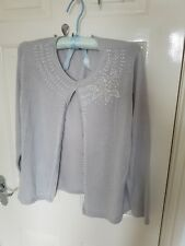 BM Silver Button Up Bead Embellishments Cardigan Size UK M - Excellent