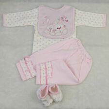 Pink Romper Pants Bib Socks Set Clothes for 22''-23'' Reborn Baby Girl Doll