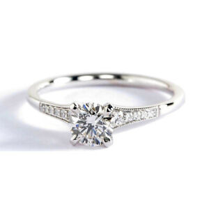 0.45 Ct VS2 H Graduated Milgrain Round Diamond Engagement Ring Platinum