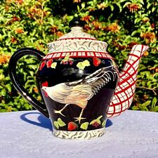 Rooster and Strawberry Black and Red Bella Casa Teapot by Ganz