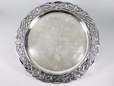 "15.75"" Irish (Dublin) Sterling Silver -Family Tree- Footed Tray /Salver ~59 T.O."