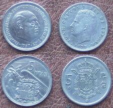 2 Münzen - 2 x 5 PTAS MÜNZE.SPANIEN. JUAN CARLOS I 1975 (1978)+FR.CAUDILLO 1957