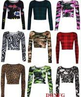 New Womens Aztec Animal Print Crop Top Ladies Leopard Long Sleeve Short 8-14