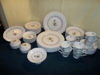 Beautiful Vintage NIKKO Blue Peony Dinnerware Set 55 Pcs. Service for 8 - EUC