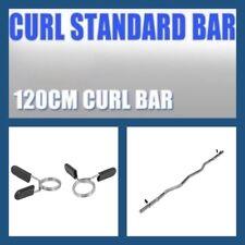 120cm Ez Curl Bar Barbell Bar With 2 EZY-Grip Collars 28mm Diameter Weight Lift