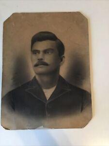 Vintage 1900's Antique Ancestor Charcoal Portrait Mexican? Man With Moustache