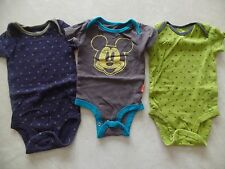 3 baby boys CARTER'S DISNEY ROMPERS snap outfits MICKEY MOUSE stars 0-3 MONTHS
