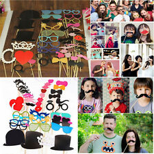44pcs Photo Booth Props Mustache On A Stick for Wedding Birthday Christmas Party