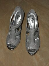 NEW SILVER BLING STRAP STILETTO HIGH HEELS PUMPS WOMENS LADIES SHOE SIZE 9.5