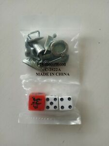 RARE Monopoly Game Replacement Parts Tokens Speed Die & 2 Dice Iron NEW & SEALED