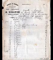 """NEUILLY-en-DUN(18) CAFE-RESTAURANT & Ets de MACONNERIE """"A. RIBATON"""" en 1913"""