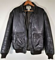 Vintage LL Bean Mens Leather Aviator Bomber Jacket USA Distressed Flight Coat M