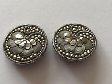 Victorian Black Glass & Platinum Lustre Ornate Pair Of Antique Buttons 22mm