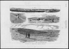 1882-ANTIQUE PRINT Scotland Sands cublin forres Sea ossatures LADY UMBRELLA (45)