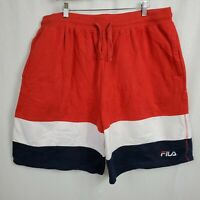 Fila Mens Size 2XL Drawstring Color Block Shorts Red White Blue