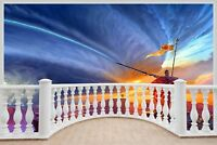 Huge 3D Balcony Fantasy Warrior Wall Stickers Wallpaper Mural 702