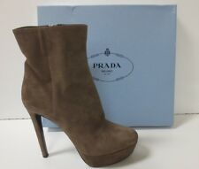 PRADA Taupe Suede Platform Mid Boots Heels Shoes 41 NEW IN BOX $990