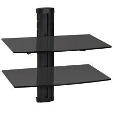 Soporte de pared para reproductores de DVD y receptores 2 estantes tv negro