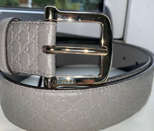 Genuine Gucci 281340 Belt Leather Unisex Size 90 Grey Gold Brand New