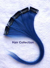 "12""Blue Human Hair Clip-In Extensions for Highlights(5pcs)"