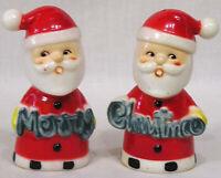 Vintage Christmas Santa Claus Merry Christmas Salt & Pepper Shakers Plastic
