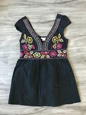 NWT CHARLOTTE RUSSE FLORAL BOHO EMBROIDERED TUNIC TOP L LARGE   SFS