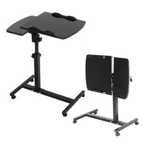 Portable Laptop Table On Wheels Adjustable Computer Notebook Desk Bed Tray Study