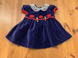 Vintage Girls 12M Blue Velvet Rex Roses Dress W/lace Collar