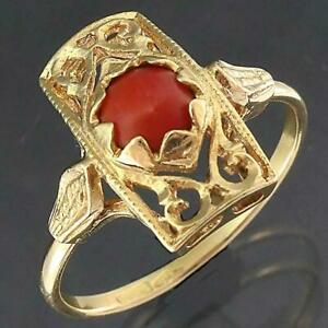 Fancy Italian Solid 18k Yellow GOLD CORAL CABOCHON PIERCED TABLET RING Sz O1/2